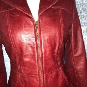 100% genuine leather RED jacket